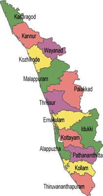 kerala in india map Kerala Maps Map Of Kerala Tourist Map Kerala kerala in india map